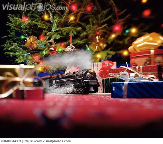 Toys Under Christmas Tree : Toy train set under christmas tree