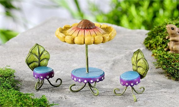 Hadas de hadas jardín mesa  hadas hadas sillas por FairyRoseGarden
