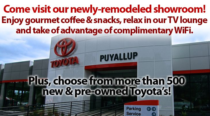 Come visit our newly-remodeled showroom! During your time with us at Toyota of Puyallup you can enjoy coffee, relax in our TV lounge and enjoy our complimentary WiFi!