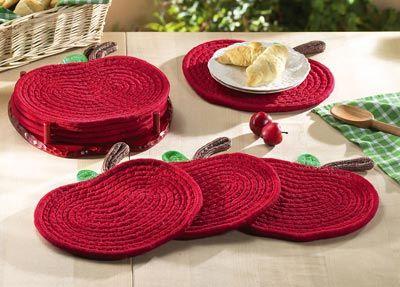 Set Of 4 Red Apple Shaped Trivets Pot Holders Hot Pads Kitchen Decor U0026 Wood  Rack