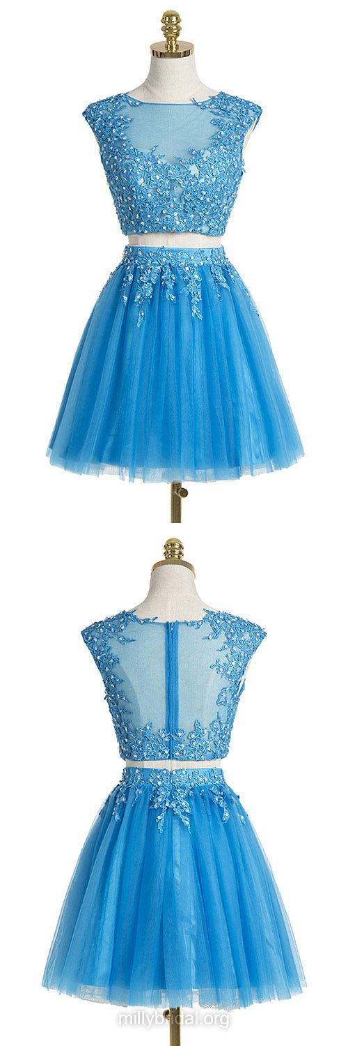 Blue Prom Dresses,Pretty A-line Scoop Neck Tulle Short Homecoming Dresses, Appliques Lace Party Gowns, Two Piece Prom Dresses