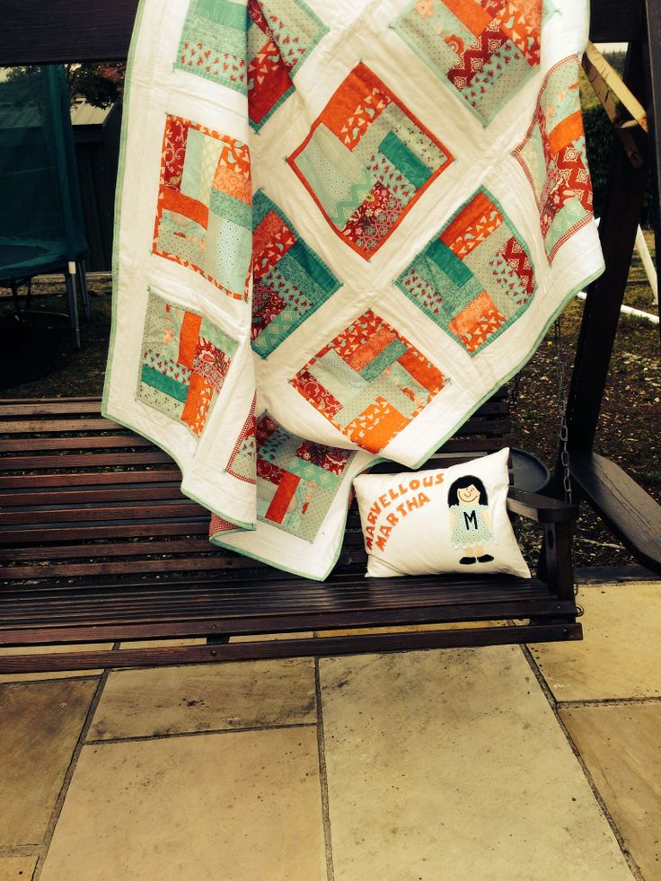 Aqua and Red quilt and cushion