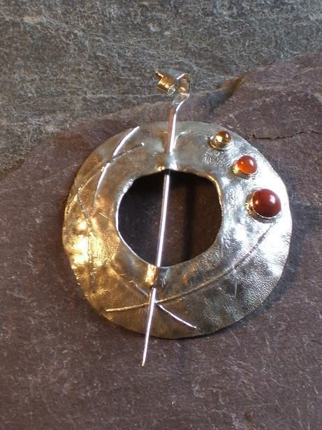 Jasper carnelian and citrine on silver Penannular pin made by Roche Designs