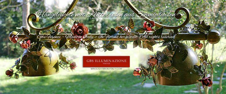 Hängeleuchte Kletterrosen | GBS Illuminazione   Kollektion Alice, Hängeleuchte 2 Lampen. Hängeleuchte in Schmiedeeisen. Patinierter Lack. GBS FIRENZE, Made in Italy