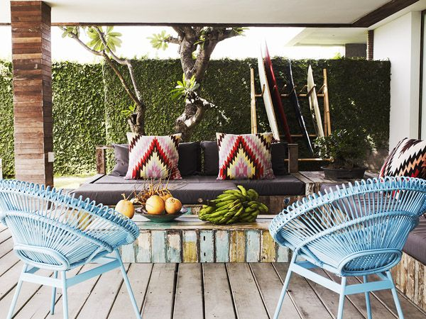 """At Home: Lindy And Michael Klim. Lindy loves the """"Mexican feel and festive vibe"""" of the open-air lounge, which doubles as a meeting area for their beauty business. Click image for more and to Get the Look. Photography: Prue Ruscoe"""
