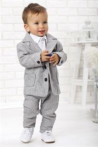 SWEET MOMENTs SET 4-tlg. Anzug Festanzug Taufanzug LUCA grau/weiss Größe 62-86