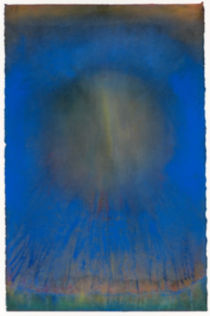 Leo Rabkin Through Blue Pastel And Watercolor On Paper