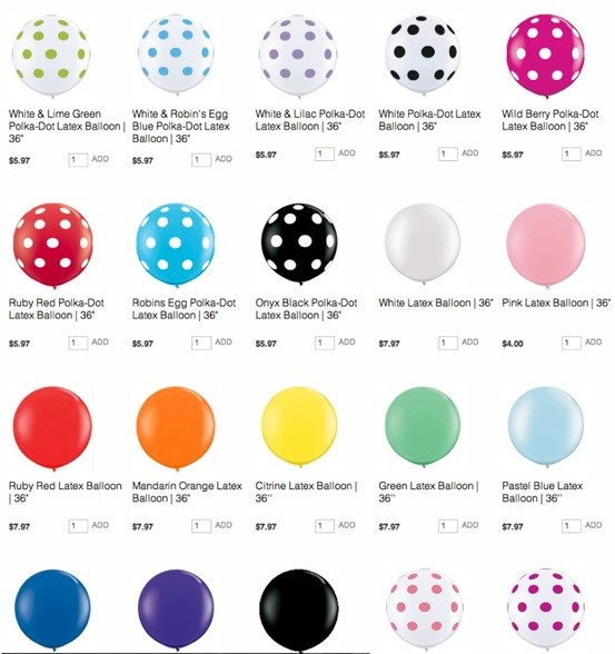 WHERE to get the GIANT JUMBO round balloons!! Kara's Party Ideas Shop has them in ALL colors, prints & sizes! KarasPartyIdeas.com/shop