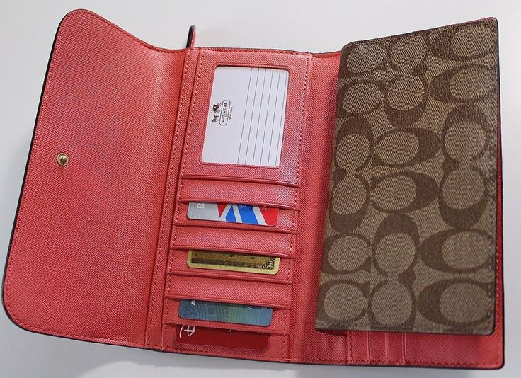 COACH 51103 KHAKI/CORAL PEYTON SIGNATURE CHECKBOOK WALLET (Removable holder) -- NOW $88.99