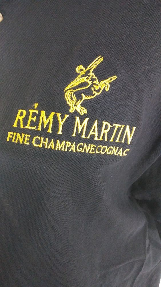 Men's Size Large Black Polo Golf Shirt Remy Martin Fine Champagne Cognac  #RemyMartin #PoloRugby