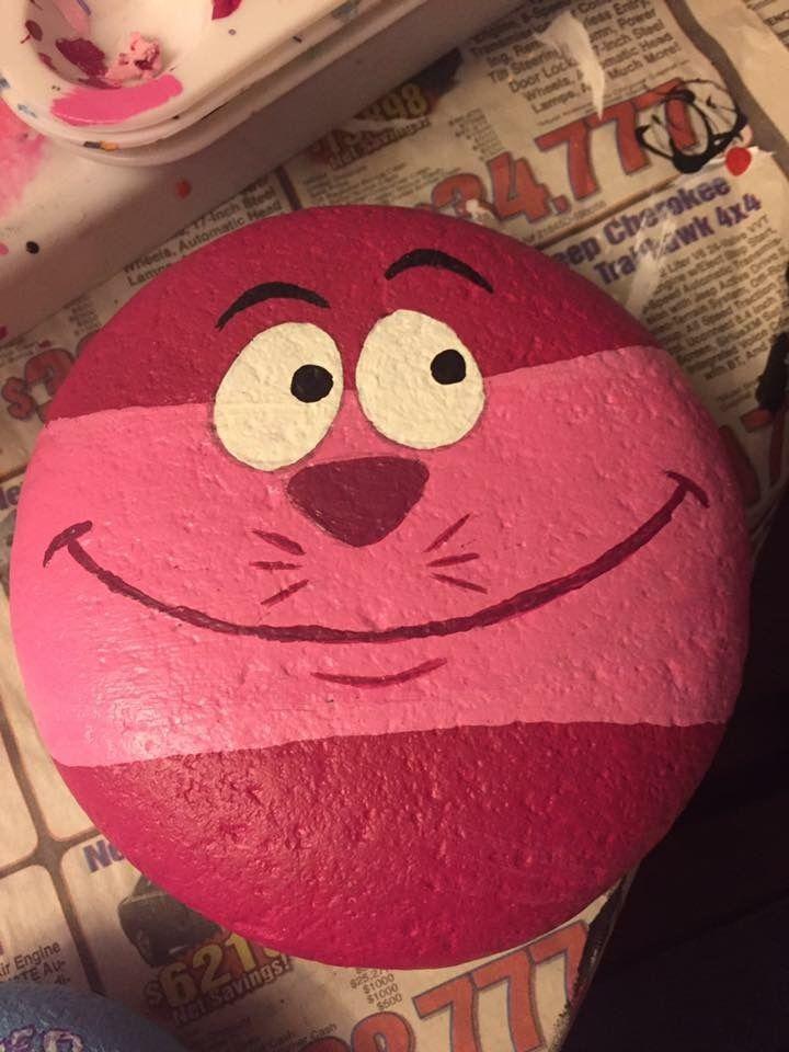 Cheshire Cat rocks painted Disney rock