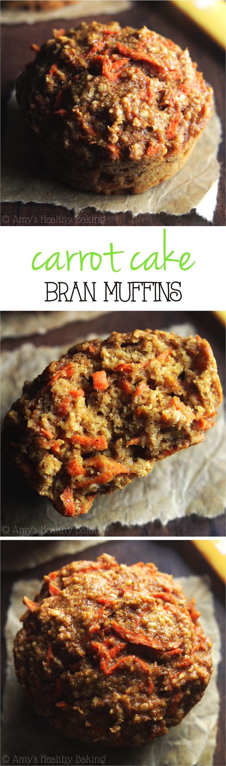 Clean-Eating Carrot Cake Bran Muffins -- one simple trick makes these the moistest bran muffins ever! They practically taste like cupcakes! Use egg substitute