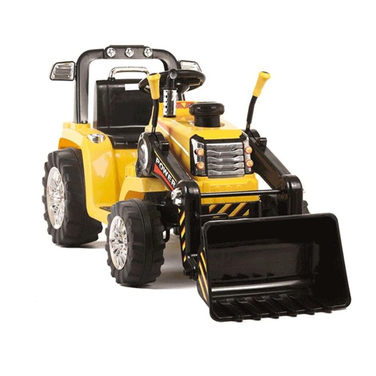 Yellow Twin Motor Tractor - 12V Kids Electric Ride On Tractor