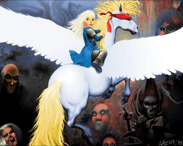 white Pegasus fom Thorgal by  rosinski - pixel art from old Amiga 1200 256 color - Demoscene