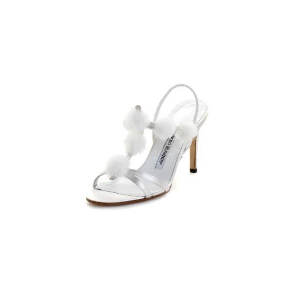 Manolo Blahnik COMPULSA-WHITE-36 Compulsa White Satin High Heel... ($420) ❤ liked on Polyvore featuring shoes, sandals, heels, footwear, manolo blahnik, white heel shoes, white heeled sandals, white satin shoes and white shoes