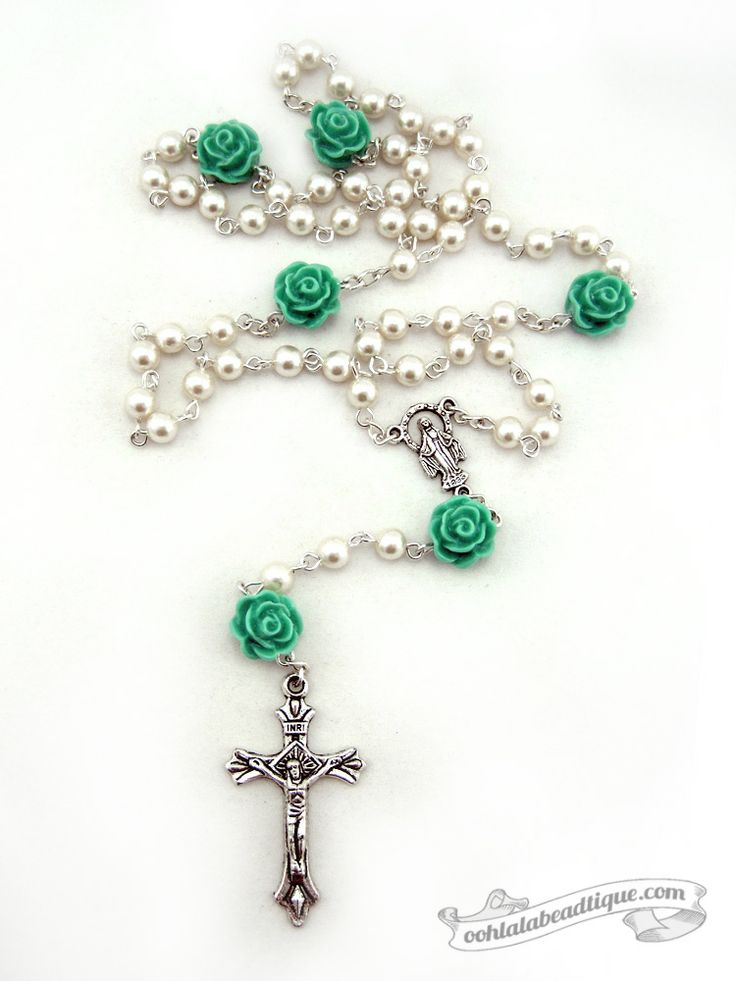 Pentecost Rose 5 decade off white rosary by Ooh-la-la Beadtique $32.00 #rosary…