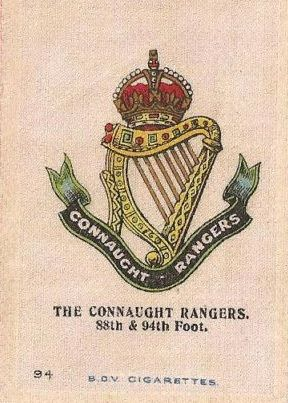 CONNAUGHT RANGERS - Silk cigarette card, issued by Godfrey Phillips, England 1915