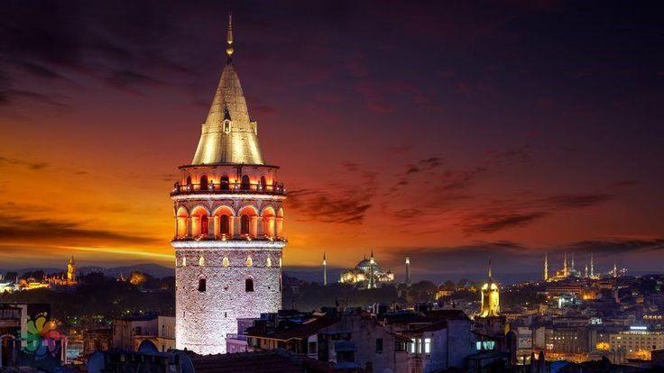 Galata Tower at night. Istanbul, Turkey.