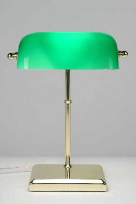 Tafellamp 70655 klassiek retro glas messing glanzend groen rechthoekig
