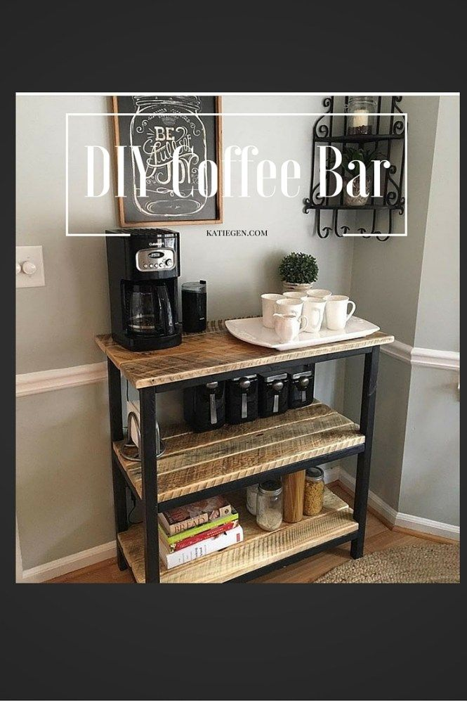 DIY Coffee Bar- Make your own coffee station! Build a table, use an existing table or counter, or buy a table to add space & organization to your kitchen! Guests will love!
