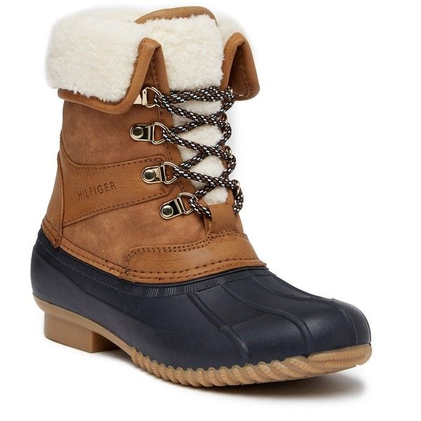 Tommy Hilfiger Rusteen Faux Fur Lined Boot ($60) ❤ liked on Polyvore featuring shoes, boots, dark natural ll, faux fur lining boots, lace up shoes, cuffed boots, fleece-lined boots and cuff boots