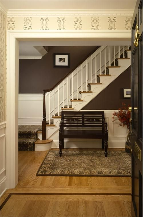 Beautiful colors and wainscoting in this entry area.  #entryway #foyers homechanneltv.com