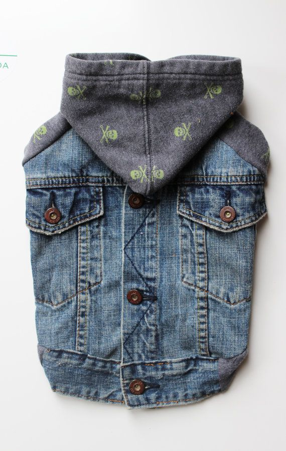 Upcycled Dog Denim Jacket with Skull and Bones by PupCycleCanada