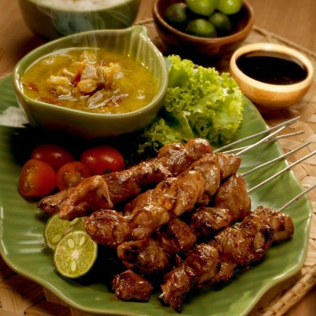 Sate Klatak from Yogyakarta, Central Java. Sate Klatak is made from young lamb and only seasoned with salt. Satay klatak stick has different from other stick. It's was made from the spikes of a bicycle wheel.