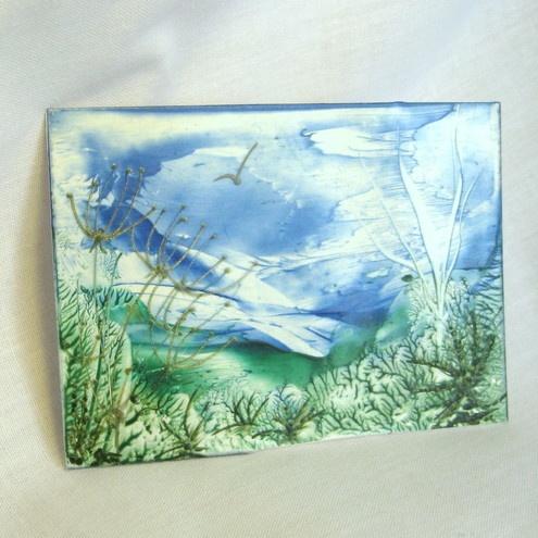 ACEO. Original encaustic art. Wax painting. Late Summer in Cornwall. £3.50