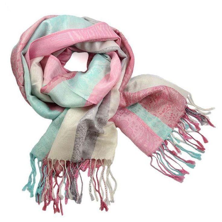 Šála teplá 69cz003-23.31 - růžovomodrá pruhovaná - Bijoux Me!