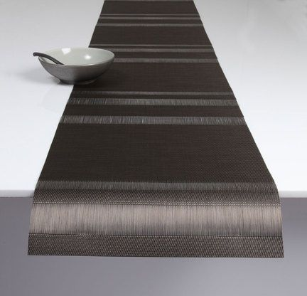 Chilewich Tuxedo Stripe Table Runner – Sable