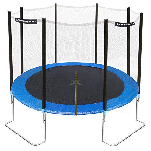 Ultrasport Trampoline de jardin Jumper 305cm avec filet de sécurité Bleu: Risque de bascule=zéro, capacité de charge max.160kg LE…