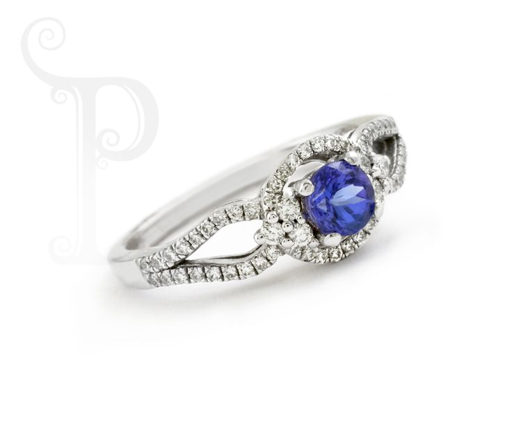 Custom Made 18ct White Gold Split Band Ring, Set With a round Cut Tanzanite and Round Brilliant Cut Diamonds