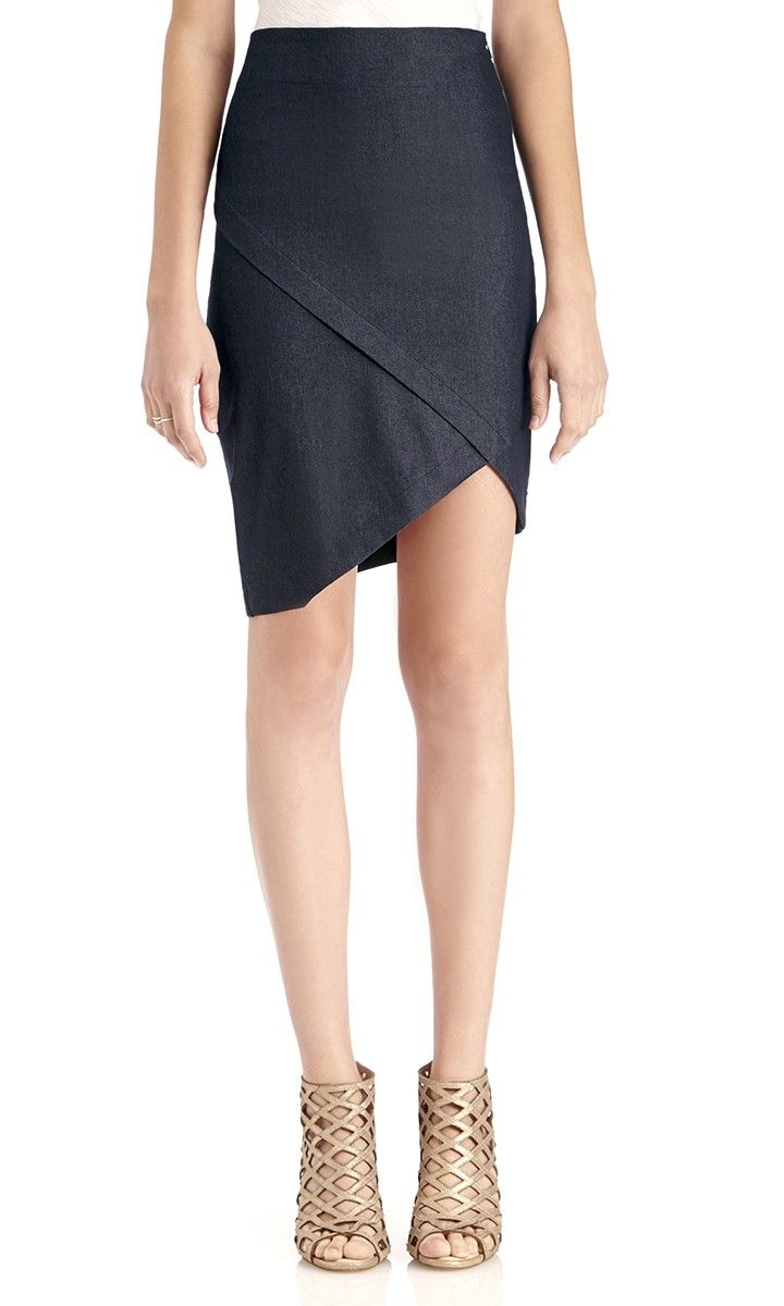 Soft, angled indigo skirt with clean lines