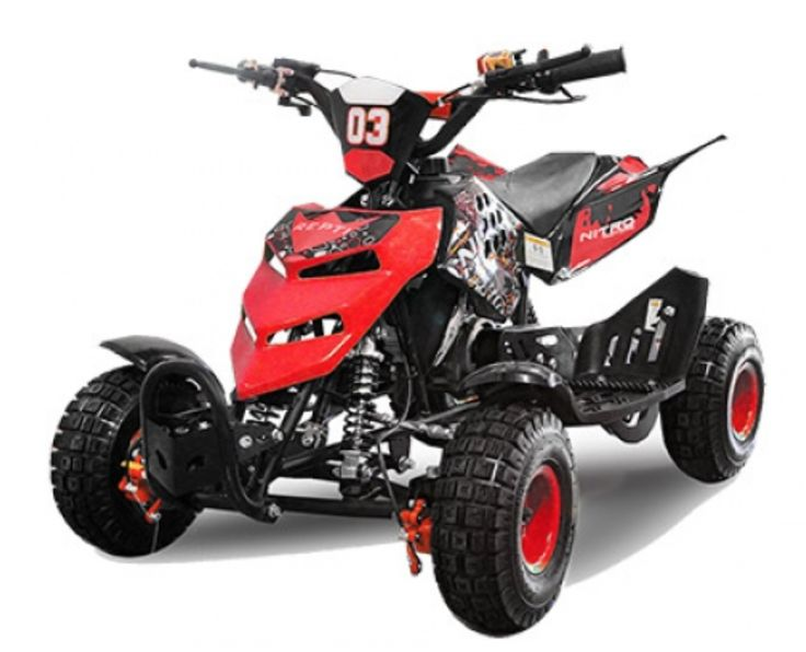 """Le quad Quad Repti E Start 49cc 4 pouces de couleur rouge est doté d'un système de freinage à disque avant et arrière pour un arrêt tout en contrôle.  Le quad dispose également d'un bracelet """"coupe-circuit"""" relié au guidon qui stoppera instantanément le quad en cas de chute, ainsi qu'une vis de bridage qui vous permettra de brider la vitesse de 5 à 55 Km/h.  Allumage CDI Boite de vitesse Automatique Poids maximum à charge 65 Kg Cylindrée 49CC Système de démarrage Électrique + Lanceur manuel…"""