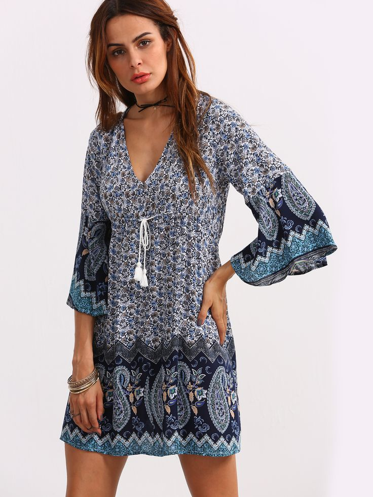 Shop Double V-Neck Bell Sleeve Multicolor Paisley Print Dress online. SheIn offers Double V-Neck Bell Sleeve Multicolor Paisley Print Dress & more to fit your fashionable needs.