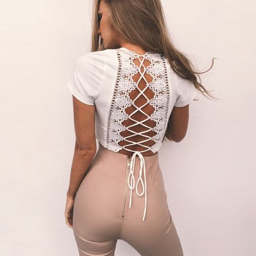 Open Back Lace-up Top White