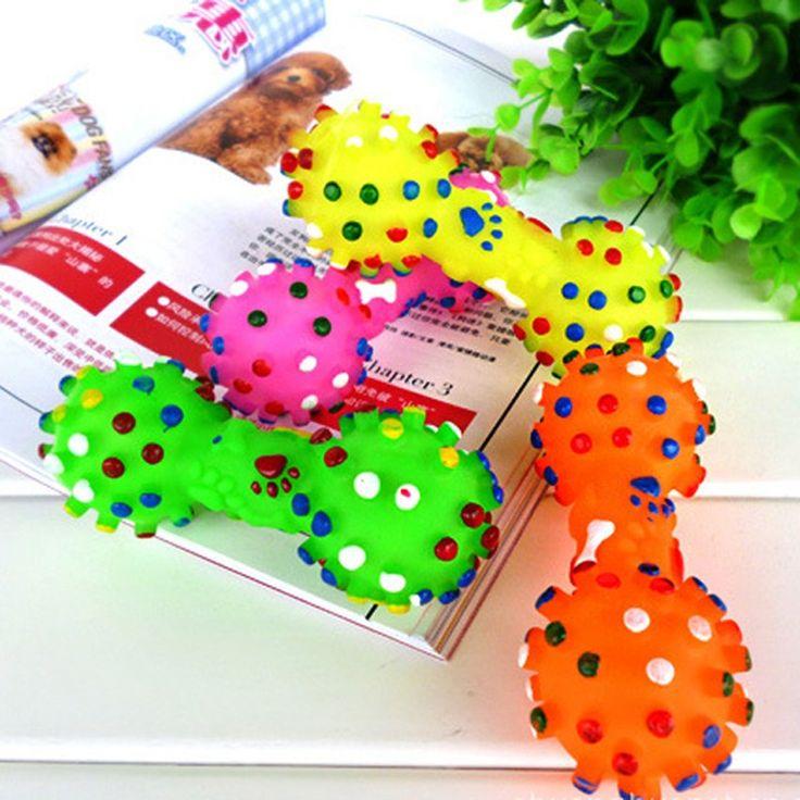 Игрушки для собак Красочные Пунктирная Гантели Формы Собаки Игрушки Squeeze Скрипучий Искусственные Кости Домашних Животных Жевать Игрушки Для Собак Бесплатная Доставка