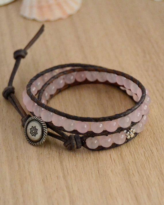 Pink bracelet. Romantic leather wrap. Cottage chic by SinonaDesign, €30.00