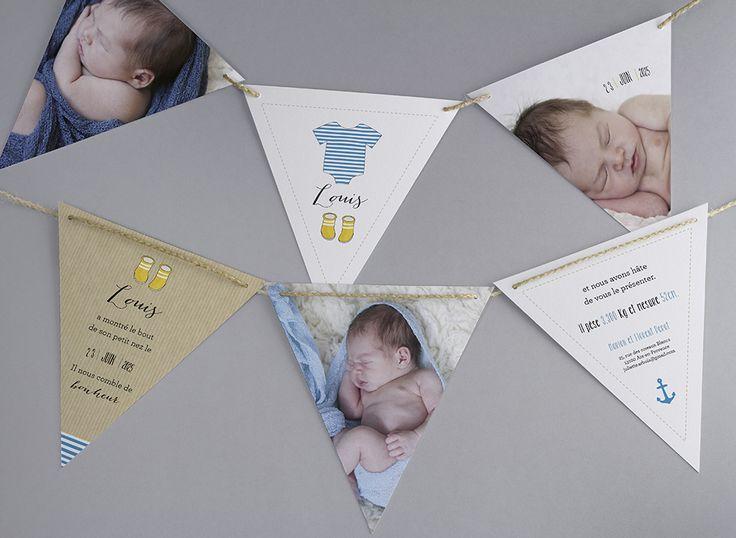 Faire-part de naissance personnalisés, faire-parttendance, marin, fanion, original, nouveauté fpc