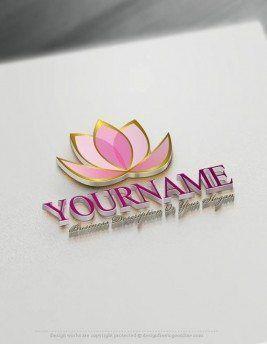 Create a Logo Free - Lotus Flower Logo Templates #logomaker #logodesign