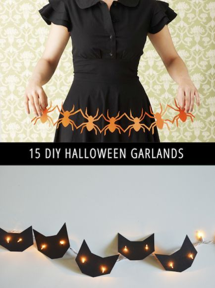 Quick and easy DIY garlands for Halloween including cats, bats, ghosts and more!