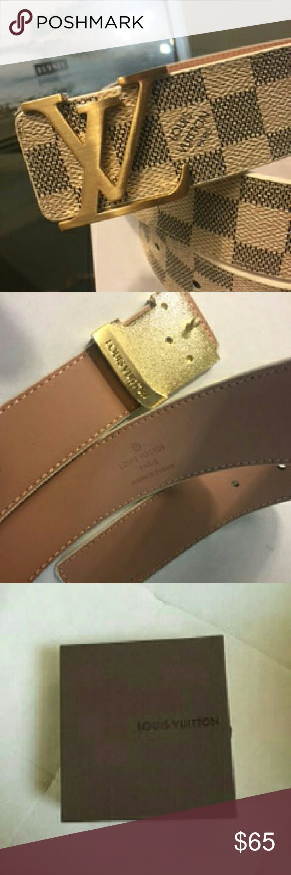 Belt, gold buckle. Cream &black belt Belt ,real leather not name , cream white & black belt with gold buckle , great quality ,box and dust cloth included  .Really nice gift for him or for you Accessories Belts