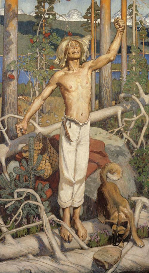 Akseli Gallen-Kallela: Kullervon kirous (1899)  suomenpystykorva, Finnish Spitz
