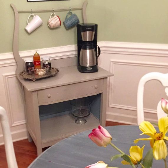 Antique Turn Of The Century Chalk Paint Wash Stand Turned Coffee Bar Or  Foyer Table.