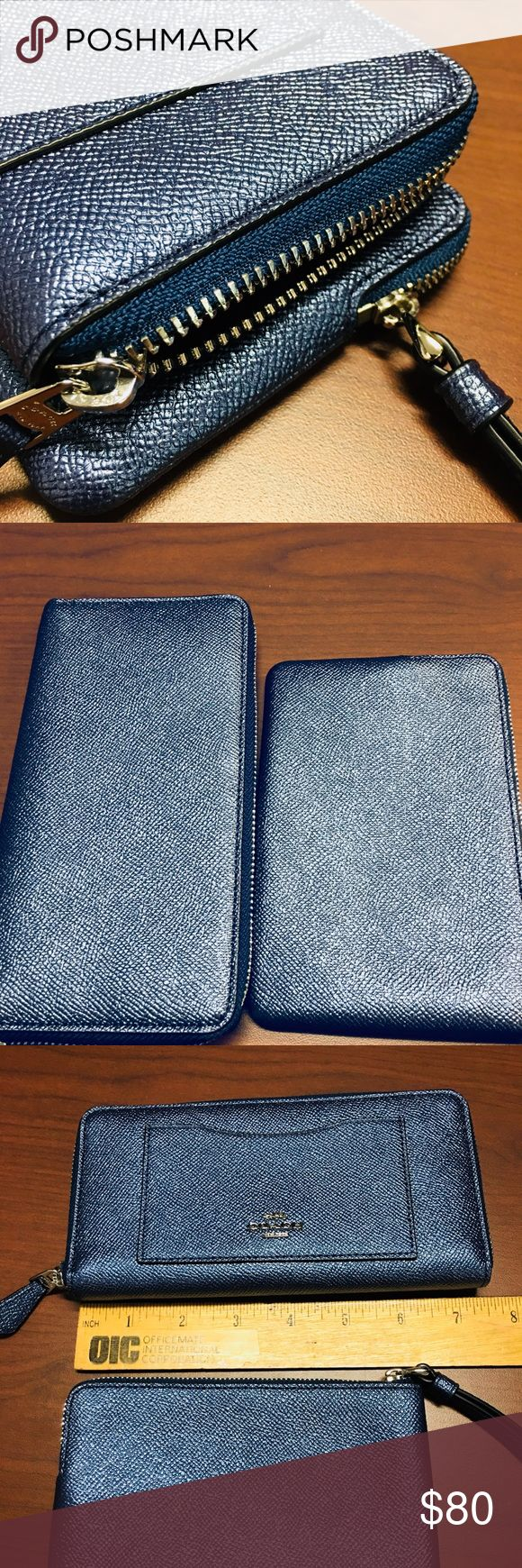 """New Coach Glitter leather wallet & wristlit Comes from a pet and smoke free home  Glitter crossgrain leather 12 credit card slots Full-length bill compartments Zip coin pocket Zip-around closure 7 1/2"""" (L) x 4"""" (H) x 3/4"""" (W) Fits all phone sizes up to an iPhone X and Samsung S7 Edge   Glitter crossgrain leather Two credit card slots Zip-top closure, fabric lining Wrist strap attached 6 1/4"""" (L) x 4"""" (H) Fits an iPhone or Android Coach Bags Wallets"""