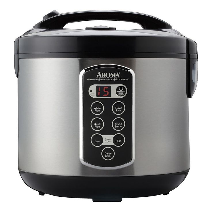 Aroma 4-in-1 20-Cup Stainless Steel Rice Cooker, Black