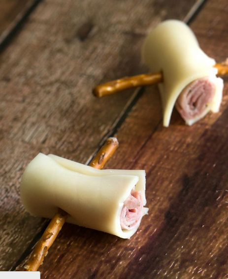 meat and cheese roll ups with pretzel skewers. Love!