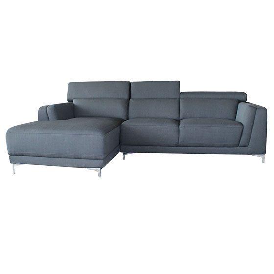 Sectionnel - BLINI 3 - Rodi - Laval / Longueuil - Sectionnel ultra-moderne en cuir véritable ou tissu. Chaise longue à assise ferme pour un confort de longue durée. Appuie-tête ajustable. Piètement en acier chromé.