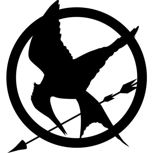 Mockingjay logo Books! ❤ liked on Polyvore featuring hunger games, the hunger games, fillers, backgrounds and art